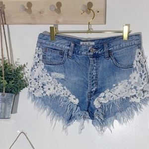 FP We the Free Lace Crochet Jean Shorts 28
